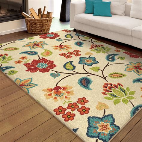 large indoor outdoor area rugs orian rugs indoor outdoor floral bloom ivory area
