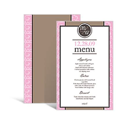 make your own menu cards personalized wedding rectangle menu cards order custom