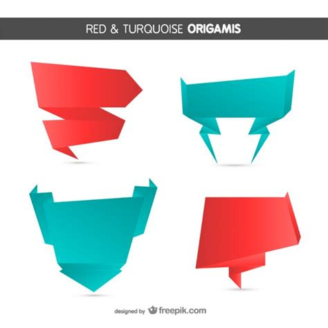 origami style origami style and turquoise banners vector free