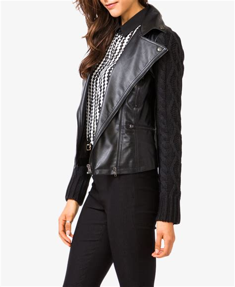 knit moto jacket forever 21 forever 21 moto jacket with cable knit sleeves in black lyst