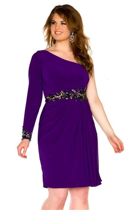 One Shoulder Purple Chiffon Beaded Plus Size