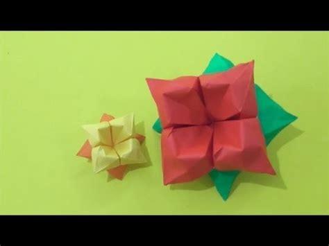 origami hibiscus easy origami how to make hibiscus flower 简单手工折纸 大红花 簡単折り紙
