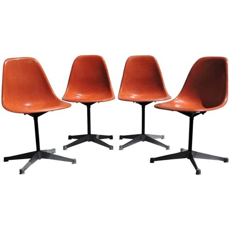 eames swivel chair eames for herman miller orange fiberglass swivel shell