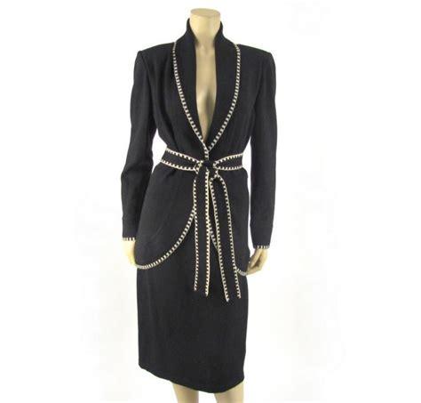 St 2pc Black Santana Knit Skirt 12 Jacket 10 Suit