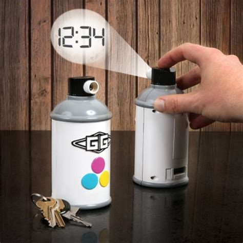 spray paint time novel projection clock spray paints the time on your wall