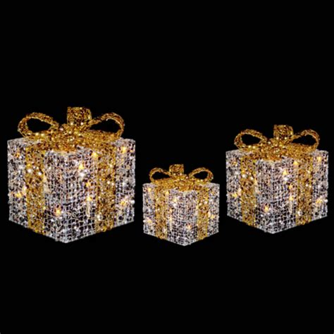 light up gift box decoration 3 x festive glittery light up gift boxes