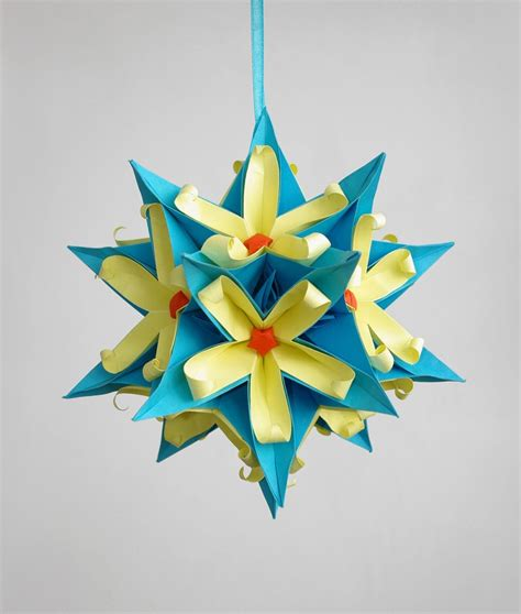 paper craft decoration home sale origami paper kusudama dinara by waveoflight on