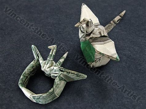 money origami crane dollar origami crane ring with adjustable band this is