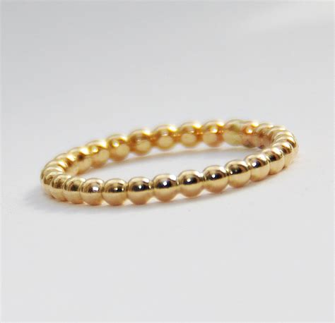 beaded rings 2mm bold yellow gold filled beaded ring anniversary ring