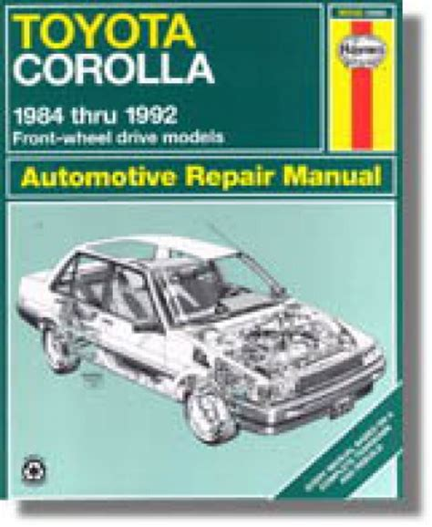 haynes toyota corolla 1984 1992 auto repair manual