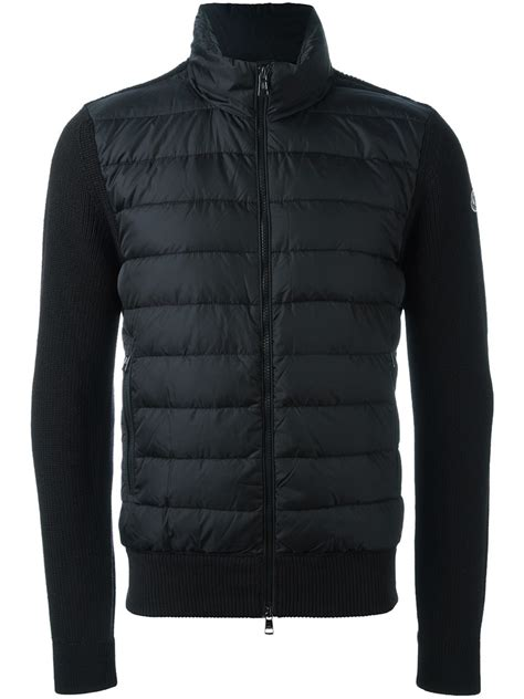 knit sleeve jacket moncler knit sleeve padded jacket in black for lyst