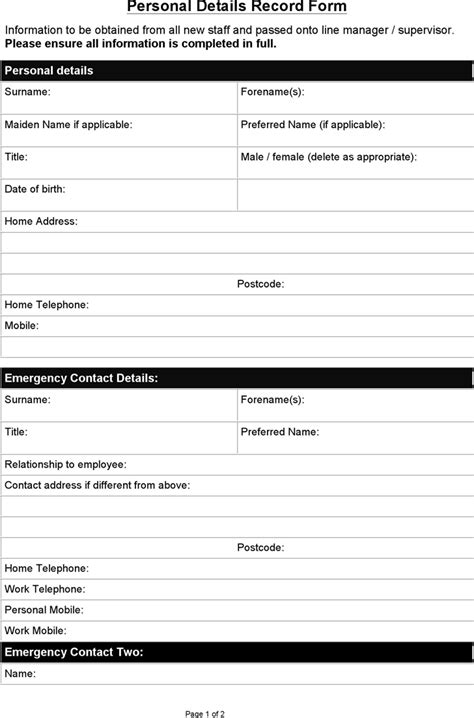 download sample personal details record form for free