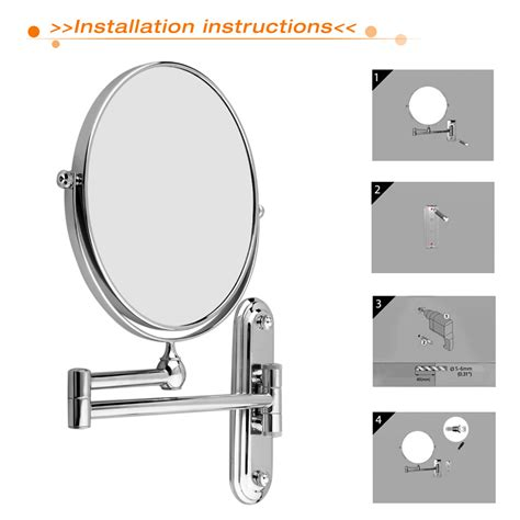 wall mounted magnifying mirrors for bathrooms wall mounted bathroom folding extending arm makeup 10x