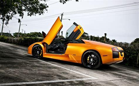 Car Wallpaper Orang by Orange Lamborghini Murcielago With Opened Doors Wallpaper