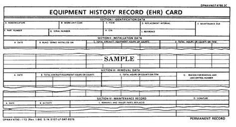 card equipment equipment history record ehr card opnav 4790 113