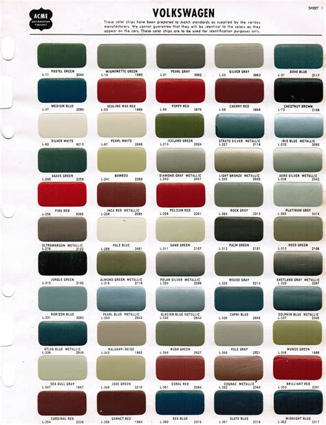 Volkswagen Colors by Thesamba Gallery 1968 Acme Vw Paint Color Chips