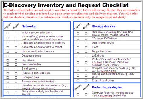 e discovery checklist