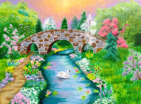 acrylic painting scenery original acrylic painting bridge landscape by clara24ever