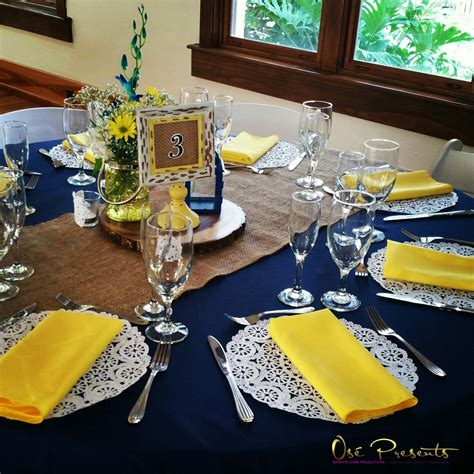 themed wedding decorations navy and yellow rustic themed wedding table decor event