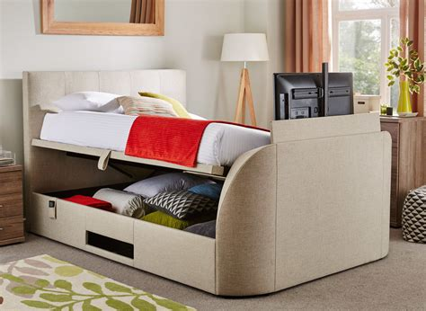 single tv bed frame evolution tv ottoman bed with led tv oatmeal dreams