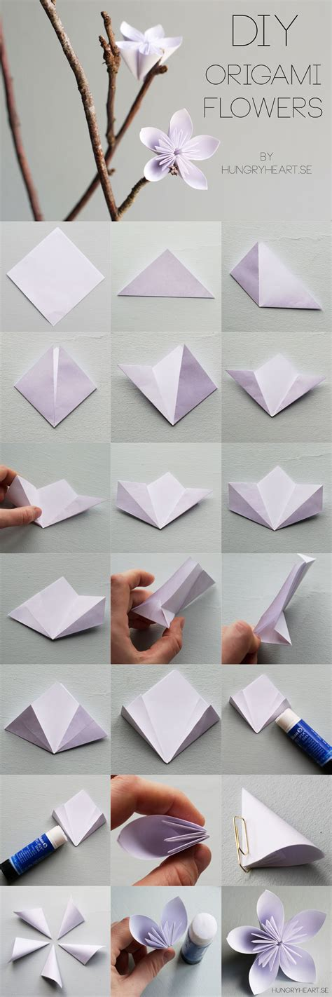 origami step by step flowers diy origamiblomma med steg f 246 r steg beskrivning hungry