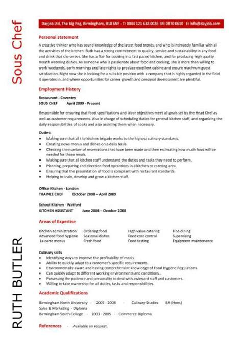 restaurant skills for resume sous chef resume objective sous chef resume ruth butler