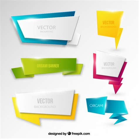 origami style banners in origami style vector free
