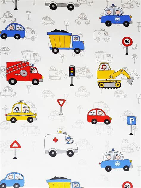 Childrens Car Wallpaper Uk by Trucks Lorries Motorcars Diggers White Multi Boys