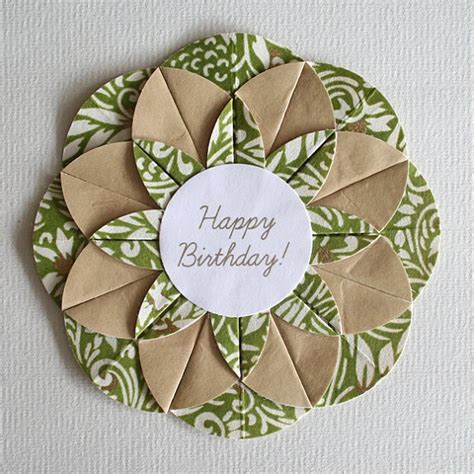 how to make origami birthday cards green swirls origami happy birthday card cards
