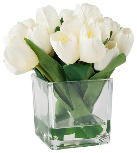 artificial floral arrangements tulip floral arrangement with glass vase