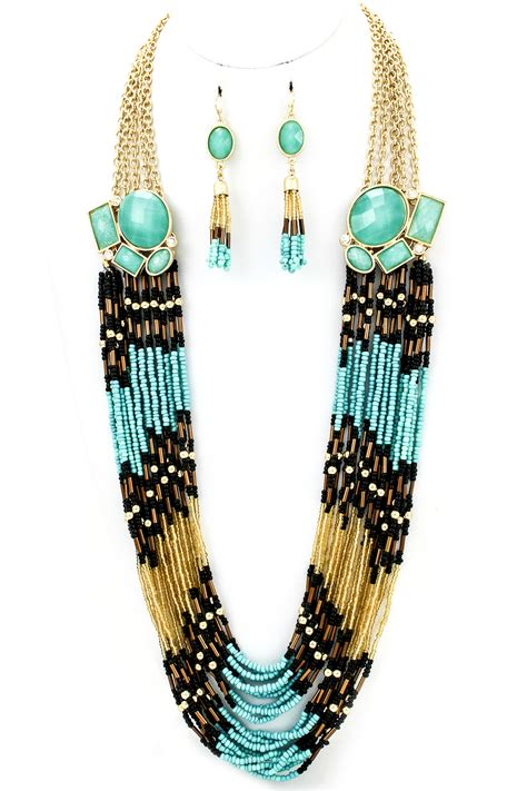 multi strand bead necklace multi strand seed bead necklace set necklaces