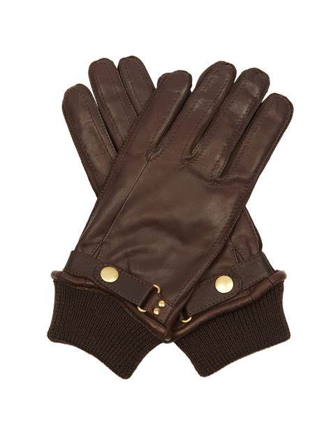 brown leather gloves mens paul smith wool and leather gloves in brown for lyst