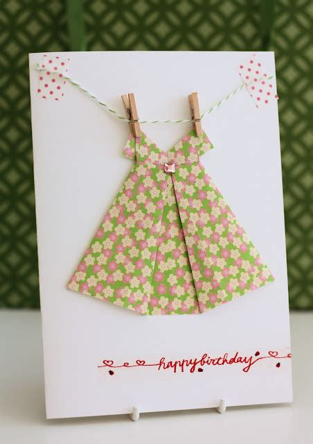 origami paper dress of giving origami paper dress card