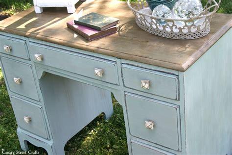 chalk paint desk coastal desk makeover canary crafts