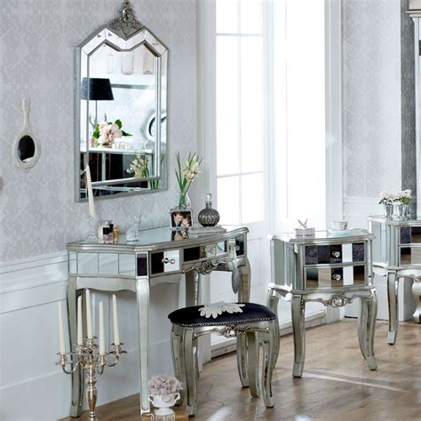 mirrored bedroom furniture set range mirrored 3 drawer dressing table stool