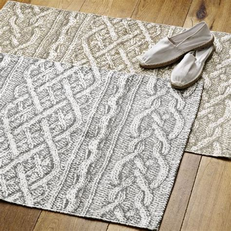 cable knit rug cable knit printed cotton dhurrie gray west elm