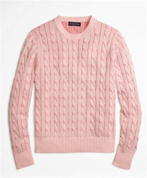 Brothers Heathered Cable Knit Crewneck Sweater In