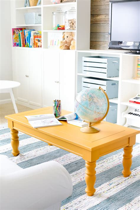 mustard coffee table mustard playroom coffee table makeover