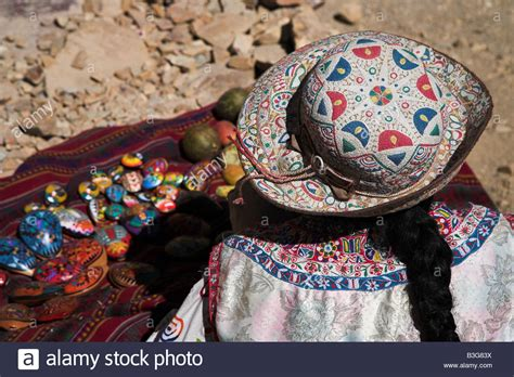 peruvian crafts for a local selling crafts at the colca near