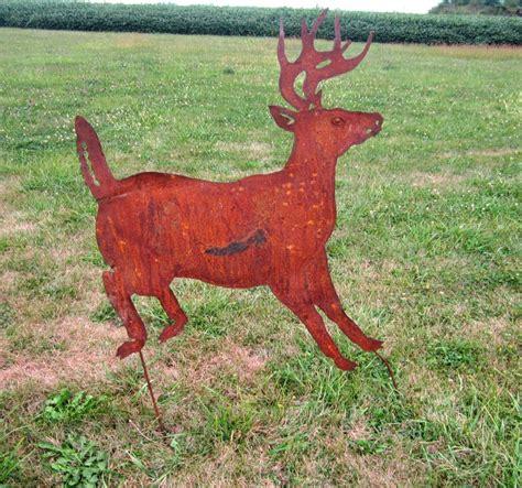 reindeer lawn ornament rustic metal deer yard stake lawn ornament