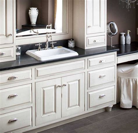 Bathroom White Cabinets by Semi Custom Bathroom Cabinets With White Color And Black