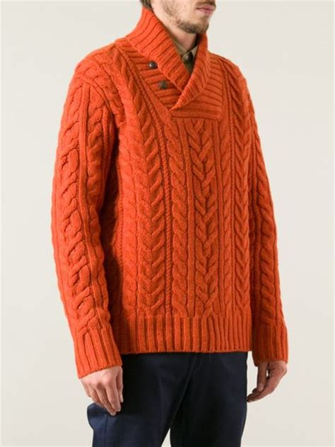 cable knit shawl polo ralph cable knit shawl neck sweater in orange