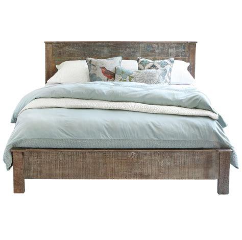rustic wood bed frames hton rustic teak wood king bed frame zin home