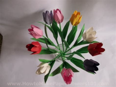 origami flower tulip origami tulip flower with stem how to make paper flowers