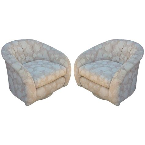 barrel style swivel chair pair of milo baughman style barrel back swivel chairs at