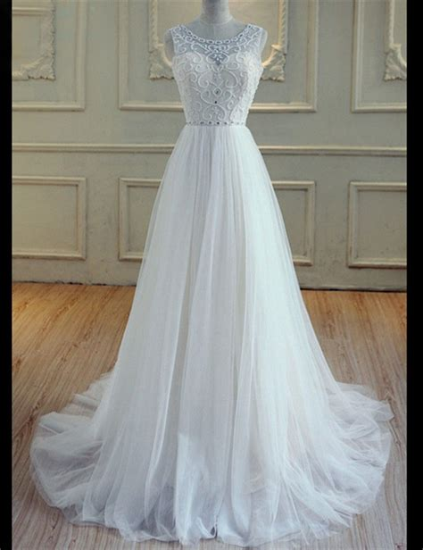 wedding dress beaded back a line scoop neck open back tulle beaded wedding dress
