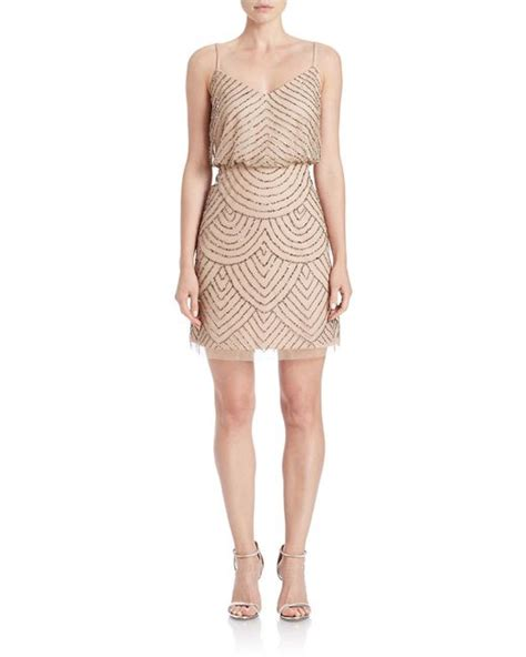 beaded tank dress papell beaded blouson tank dress in brown taupe