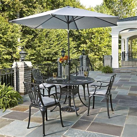 5 patio set with umbrella home styles largo 5 patio dining set with gray