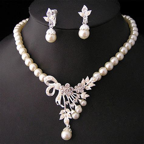 pearl for jewelry pearl silver plated necklace earrings wedding