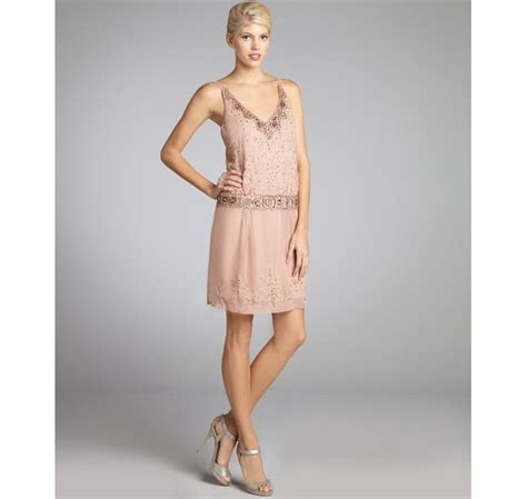 drop waist beaded dress sue wong chiffon woven beaded drop waist spaghetti